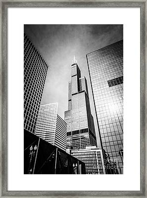 Chicago Willis-sears Tower In Black And White Framed Print by Paul Velgos