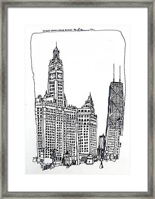 Chicago Wrigley And Hancock Buildings Framed Print