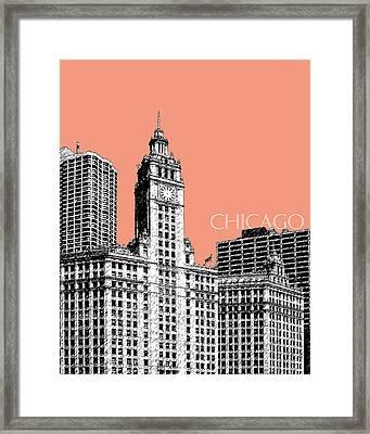 Chicago Wrigley Building - Salmon Framed Print by DB Artist