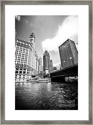 Chicago Wrigley Tribune Equitable Buildings Black And White Phot Framed Print by Paul Velgos