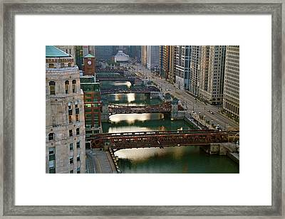 Framed Print featuring the photograph Chicago's Bridges @ Sunrise by John Babis