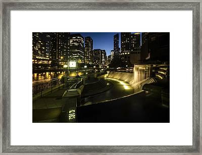 Chicago's Centennial Fountain And Skyline Framed Print
