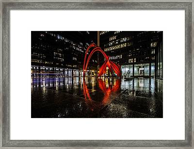Chicago's Red Flamingo On A Rainy Night Framed Print