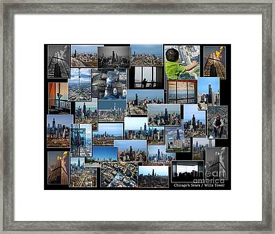 Chicago's Sears Willis Tower Collage Framed Print by Thomas Woolworth