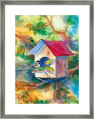 Chickadee Bungalow Framed Print by Teresa Ascone