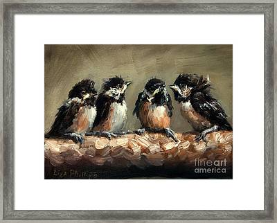 Chickadee Chicks Framed Print by Lisa Phillips Owens