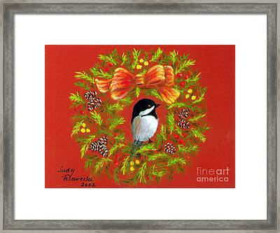 Chickadee Holiday Greeting Card Framed Print by Judy Filarecki
