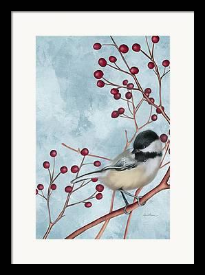 Black Berries Digital Art Framed Prints