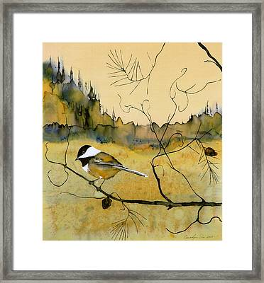 Chickadee In Dancing Pine Framed Print by Carolyn Doe
