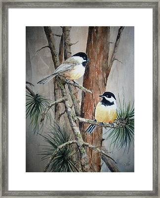 Chickadee Pair Framed Print