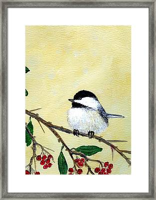 Framed Print featuring the painting Chickadee Set 4 - Bird 2 - Red Berries by Kathleen McDermott