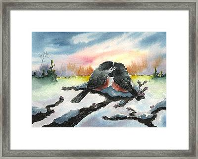 Framed Print featuring the painting Chickadee Sunset Snuggle by Sean Seal