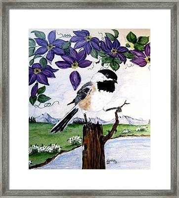 Chickadee With Blue Clematis Framed Print by Sandra Maddox