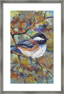 Chickadee With Coppery Branches Framed Print
