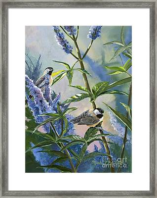 Chickadees And Lilac Framed Print by Michael Ashmen