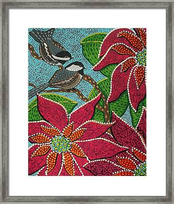 Chickadee's At Winter Time Framed Print