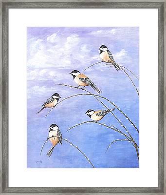 Chickadees Framed Print by Carl Genovese