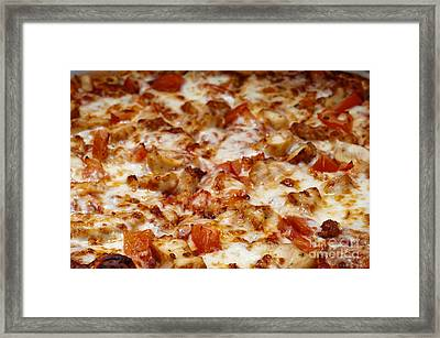 Chicken And Diced Tomato Pizza 2 Framed Print by Andee Design