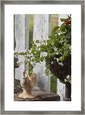 Chicken And Garden Urn  Framed Print by Sandra Foster