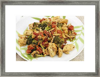 Chicken Broccoli And Tomatoes Dinner Framed Print by Lee Serenethos