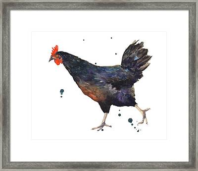 Chicken Chase Framed Print by Alison Fennell