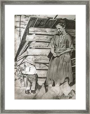 Chicken Coop - Woman And Son - Feeding Chickens Framed Print