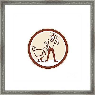 Chicken Farmer Feeder Circle Cartoon Framed Print