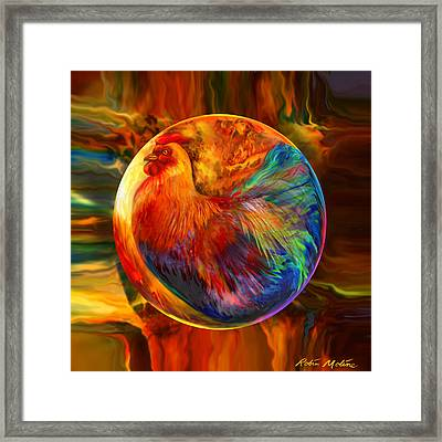 Chicken In The Round Framed Print by Robin Moline