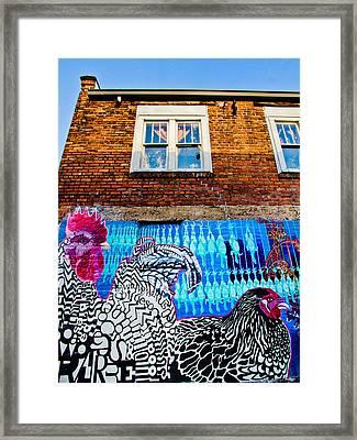 Chicken Mural In Chicken Alley Framed Print