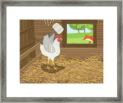 Chicken With A Mallet Waits For  A Fox Framed Print by Diane Labombarbe