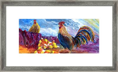 Chickens And Candy Corn Framed Print