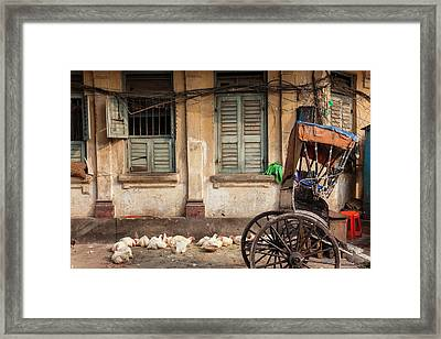 Chickens And Rickshaw On Street Framed Print by Peter Adams