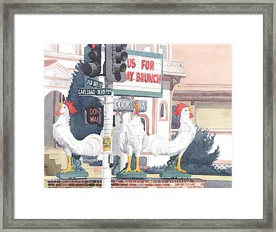 Chickens At Twin Inns Carlsbad Framed Print by Mary Helmreich