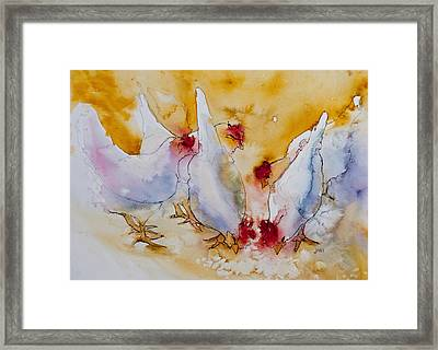 Framed Print featuring the painting Chickens Feed by Jani Freimann