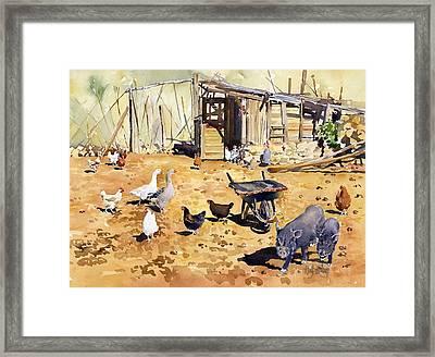 Chickens Geese And Little Pigs Framed Print by Margaret Merry