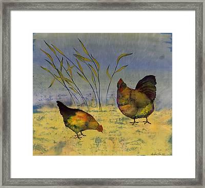 Chickens On Silk Framed Print by Carolyn Doe