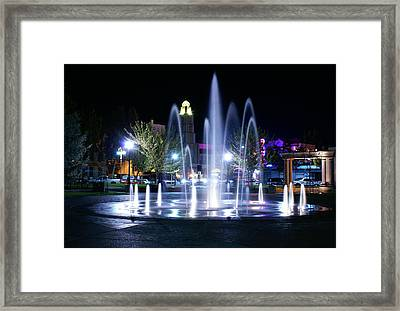 Chico City Plaza At Night Framed Print by Abram House