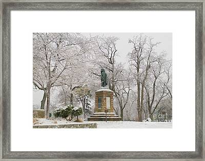 Chief Keokuk Statue In Ice Storm Framed Print