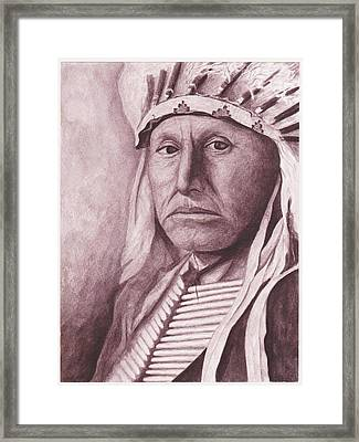 Chief Red Tomahawk Framed Print by Billie Bowles