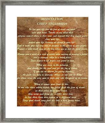 Chief Tecumseh Poem Framed Print