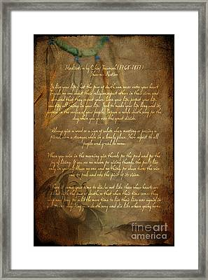 Chief Tecumseh Poem Framed Print by Wayne Moran