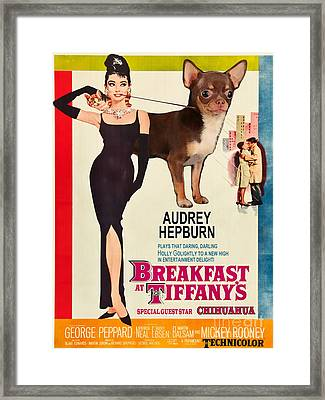 Chihuahua Art - Breakfast At Tiffany Movie Poster Framed Print