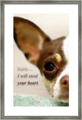 Chihuahua Dog Art - The Thief Framed Print by Sharon Cummings
