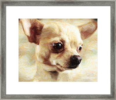 Chihuahua Dog - Painterly Framed Print by Wingsdomain Art and Photography
