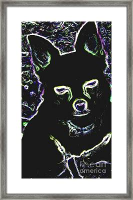 Chihuahua Silhouette With Color Framed Print by Gail Matthews