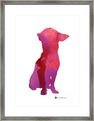 Chihuahua Watercolor Painting Art Print Large Poster Framed Print by Joanna Szmerdt