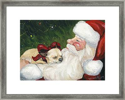 Chihuahua's Cozy Christmas Framed Print by Charlotte Yealey