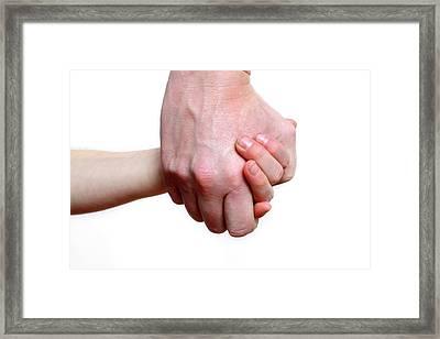 Child And Adult Holding Hands Framed Print by Victor De Schwanberg