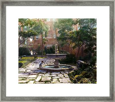 Child And Fountain Framed Print