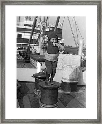 Child Arriving At Ellis Island Framed Print